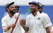 Virat Kohli and Shikhar Dhawan. (Photo by LAKRUWAN WANNIARACHCHI/AFP/Getty Images)