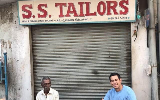 Ross Taylor at a Tailor shop in Rajkot