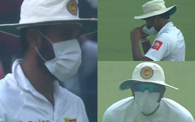 Sri Lankan players wear masks