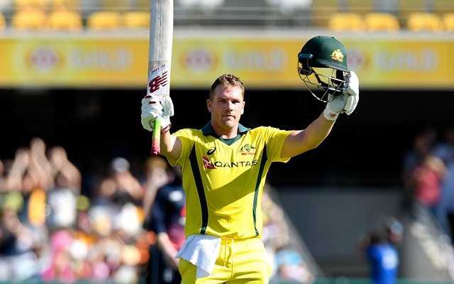 Aaron Finch of Australia. (Photo by Bradley Kanaris/Getty Images)