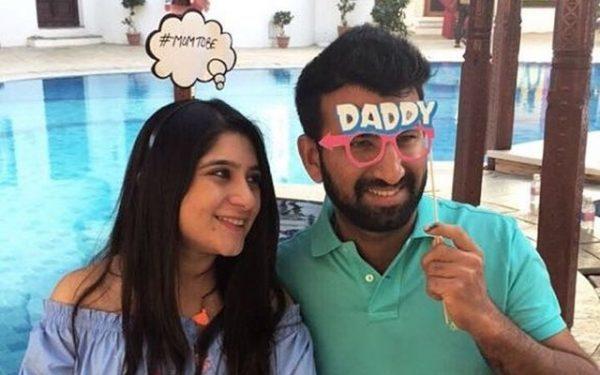 Cheteshwar Pujara with his wife Puja. (Photo Source: Twitter)
