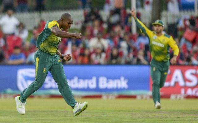 Junior Dala of South Africa celebrates after dismissing Indian captain Virat Kohli. (Photo by Sydney Seshibedi/Gallo Images/Getty Images)