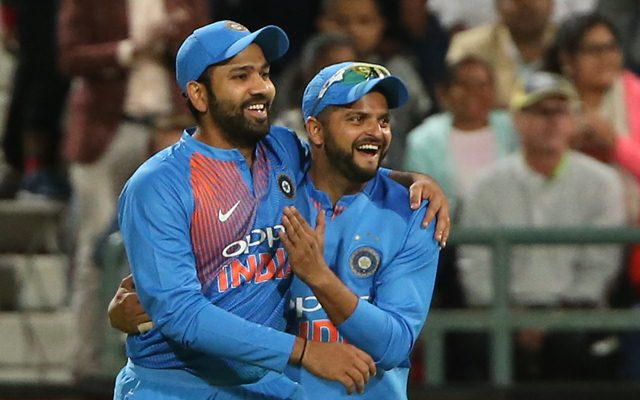 Rohit Sharma and Suresh Raina. (Photo by Luke Walker/Gallo Images/Getty Images)
