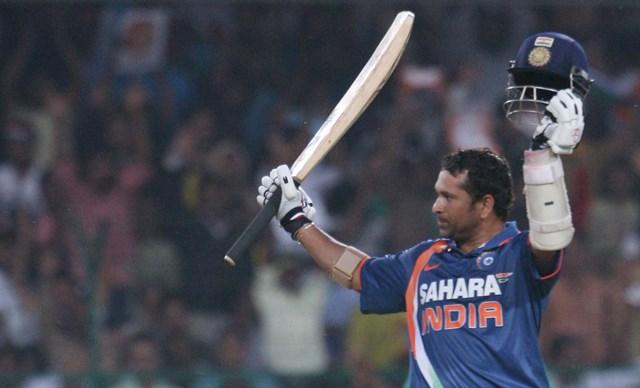 Sachin Tendulkar celebrates his 200*. (Photo by Qamar Sibtain/India Today Group/Getty Images)