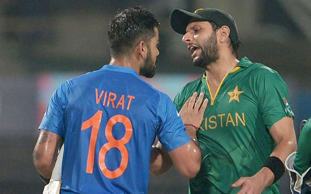 Virat Kohli of India and Shahid Afridi of Pakistan