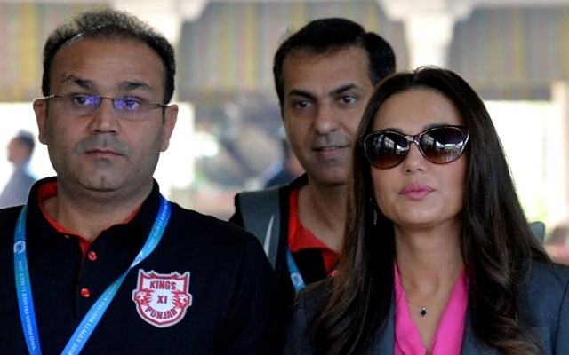 Virender Sehwag & Preity Zinta during the IPL 2018 auction. (Photo Source: Getty Images)