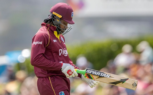 Chris Gayle of West Indies leaves the field after being caught. (Photo by Dave Rowland/Getty Images)