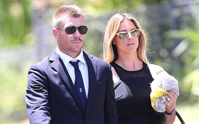 Australian cricketer David Warner and Candice. (Photo by Michael Dodge/Getty Images)
