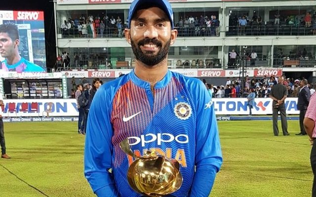 Dinesh Karthik received the player of the match award. (Photo Source: Twitter)