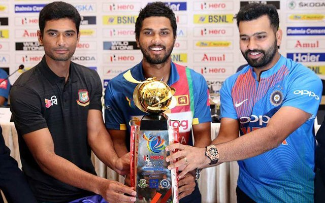 Rohit Sharma, Dinesh Chandimal & Mahmudullah Riyad. (Photo Source: Twitter)