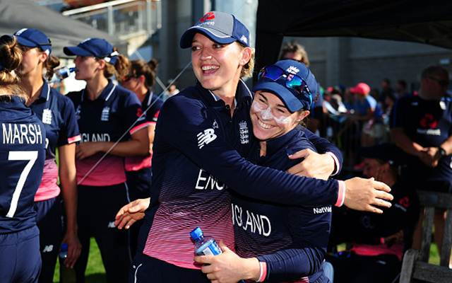 Sarah Taylor and Tammy Beaumont of England. (Photo by Harry Trump-IDI/IDI via Getty Images)