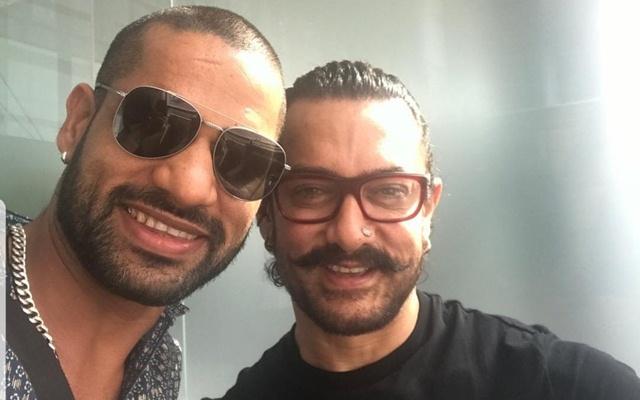 Shikhar Dhawan & Aamir Khan. (Photo Source: Twitter)
