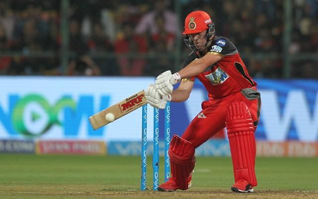 AB de Villiers plays a shot. (Photo Source: Twitter)