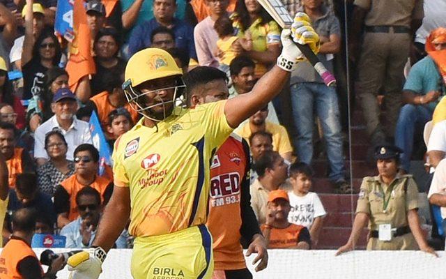 Ambati Rayudu of Chennai Super Kings celebrates his half-century. (Photo by IANS)
