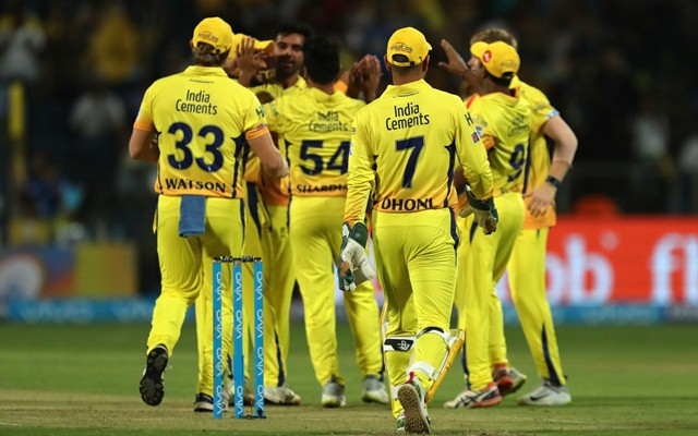 Chennai Super Kings team celebrates a wicket. (Photo Source: Twitter)