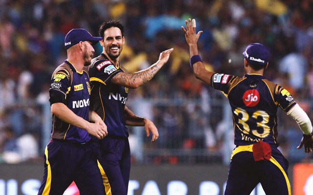 Mitchell Johnson of KKR celebrates a wicket with his teammates. (Photo Source: Twitter)