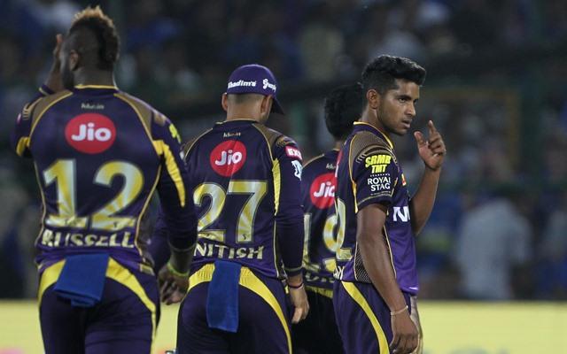 Shivam Mavi of Kolkata Knight Riders celebrates fall of Sanju Samson's wicket. (Photo by Surjeet Yadav/IANS)
