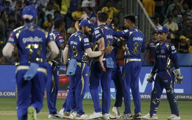 Mumbai Indians' celebrate fall of MS Dhoni's wicket. (Photo by IANS)
