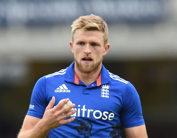 England's David Willey. (Photo by OLLY GREENWOOD/AFP/Getty Images)