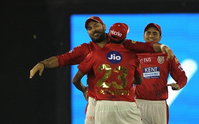 Yuvraj Singh and Ravichandran Ashwin of Kings XI Punjab. (Photo by Surjeet Yadav/IANS)