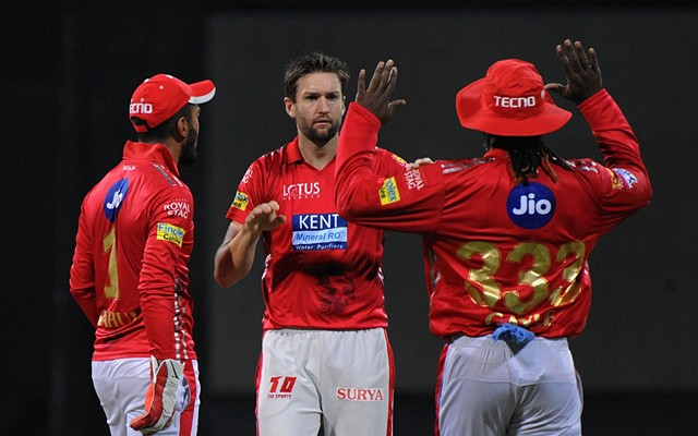Kings XI Punjab's Andrew Tye celebrates fall of Evin Lewis' wicket. (Photo by IANS)