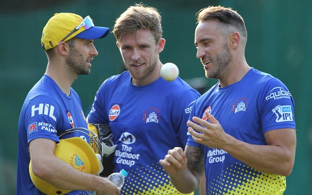 Chennai Super Kings player Faf du Plessis, Mark Wood, and David Willey during a practice session in Mohali. (Photo by Surjeet Yadav/IANS)