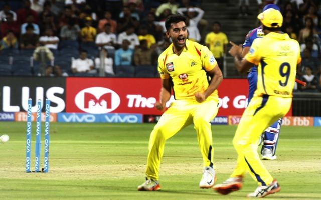 Deepak Chahar of Chennai Super Kings celebrates fall of a wicket. (Photo by IANS)