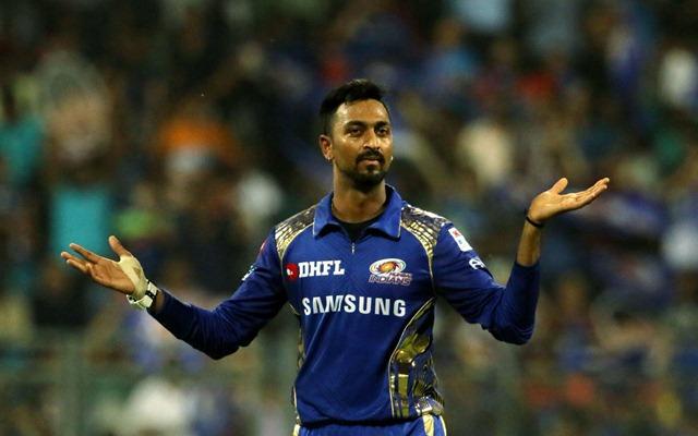 Krunal Pandya of Mumbai Indians celebrates a wicket. (Photo Source: Twitter)