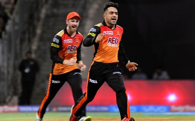 Rashid Khan of Sunrisers Hyderabad celebrates fall of MS Dhoni's wicket. (Photo by IANS)