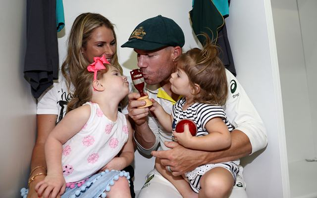 David Warner of Australia, his wife Candice Warner and their daughters Ivy and Indi (Photo by Ryan Pierse/Getty Images)