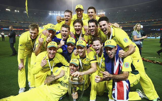 The Australian Team with 2015 World Cup trophy. (Photo by Ryan Pierse/Getty Images)