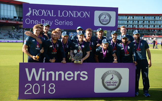 England players pose with the Royal One Day Cup after winning the match. (Photo by Nathan Stirk/Getty Images)