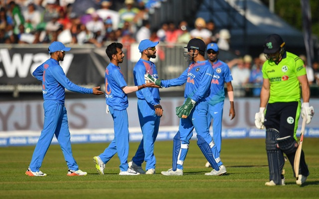 Indian team celebrates a wicket. (Photo Source: Twitter)