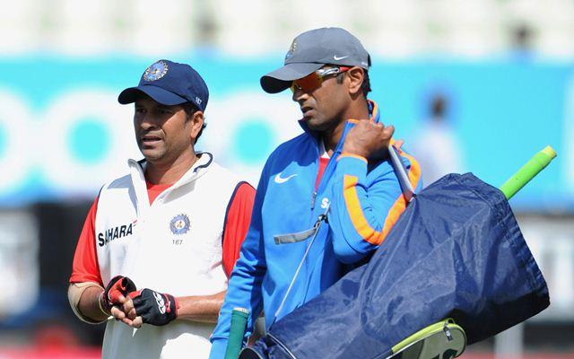 Sachin Tendulkar and Rahul Dravid. (Photo by Gareth Copley/Getty Images)