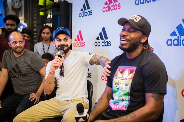 Sporting icons Virat Kohli and Chris Gayle were present to introduce a new store at a mall in Bangalore, India, on Sunday, May 2016 (Photo by Nishal Lama/NurPhoto via Getty Images)