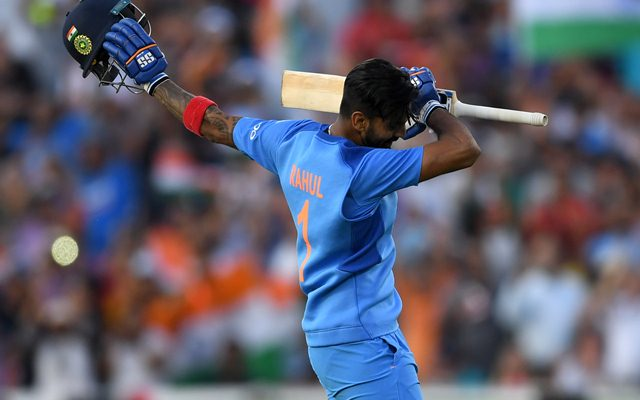 KL Rahul of India celebrates reaching his century. (Photo by Gareth Copley/Getty Images)