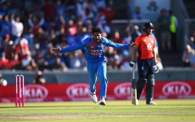 Kuldeep Yadav of India celebrates. (Photo by Nathan Stirk/Getty Images)