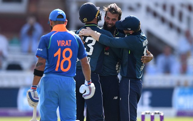 Moeen Ali celebrates with his teammates. (Photo by Gareth Copley/Getty Images)