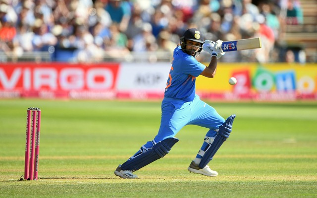 India batsman Rohit Sharma hits out. (Photo by Stu Forster/Getty Images)