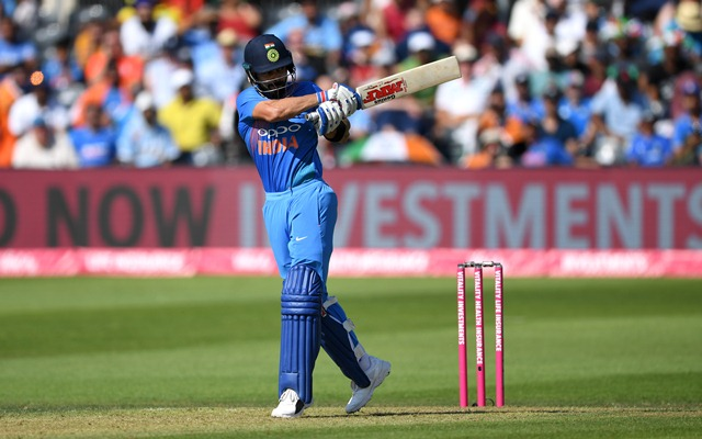 Virat Kohli of India bats. (Photo by Gareth Copley/Getty Images)