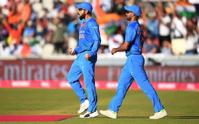 Virat Kohli of India celebrates. (Photo by Gareth Copley/Getty Images)