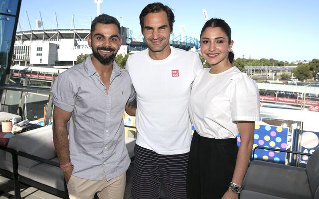 Virat Kohli, Anushka Sharma, Roger Federer