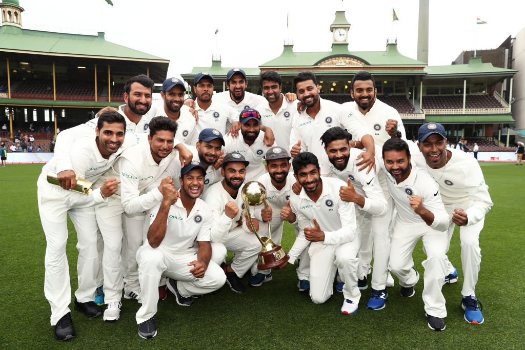 indian team with trophy in australia ( image source: BCCI Twitter Handle)