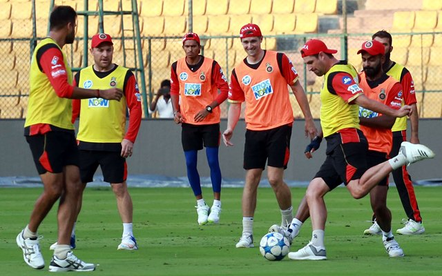 Royal Challengers Bangalore players during a practice session. (Photo by IANS)