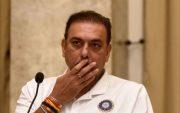 Indian head coach Ravi Shastri. (Photo by Satyabrata Tripathy/Hindustan Times via Getty Images)