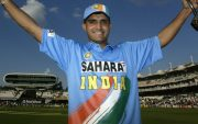 Sourav Ganguly of India with the NatWest series Trophy. (Photo by Clive Mason/Getty Images)