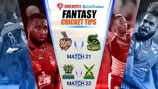 CPL 2020 Dream11 Tips | M 21 - JT vs TKR Dream11 | M 22 - GAW vs BT Fantasy Tips | CricTracker