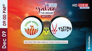 Qatar T10 Live Streaming : 4th Match Desert Riders vs Flying Oryx