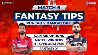 Bangalore vs Punjab Team Prediction, 11Wickets Fantasy Cricket Tips, Indian T20 League Match 6
