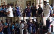 Indian players congratulating Mohammed Shami and Jasprit Bumrah. (Photo Source: Twitter)
